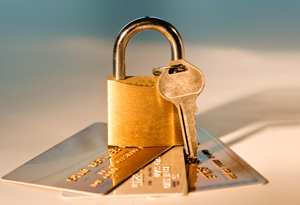 Credit cards and lock and key