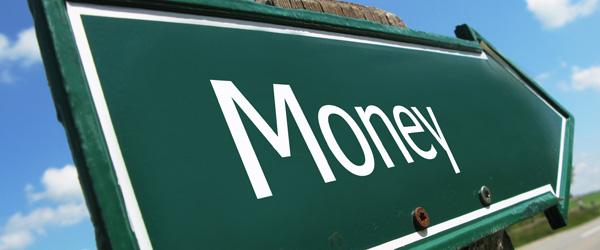 Money road sign