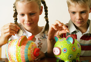 A girl and a boy investing
