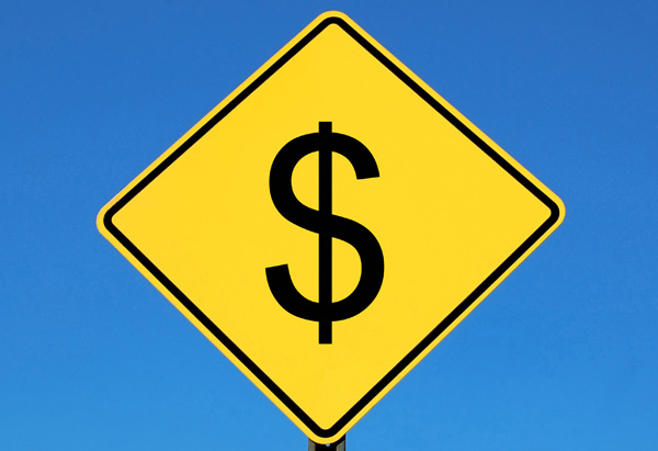 Money road sign