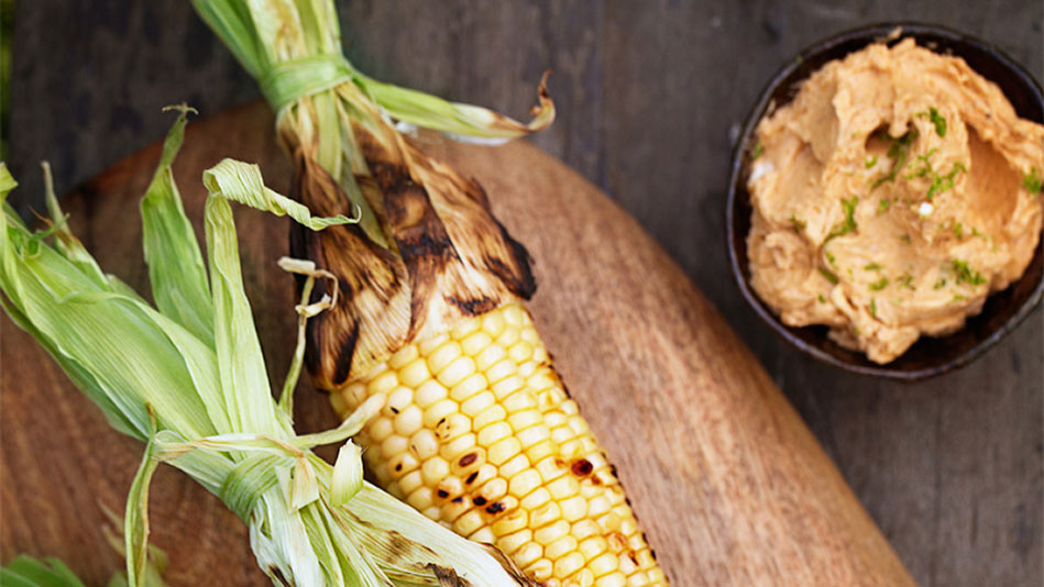 Grilled Corn on the Cob with Ancho Chili-Lime Butter Recipe
