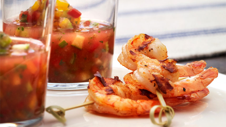 Fiery Grilled Shrimp With Honeydew Gazpacho Recipes — Dishmaps