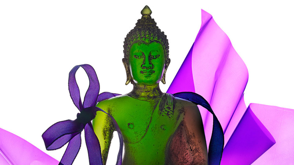 buddha with ribbon