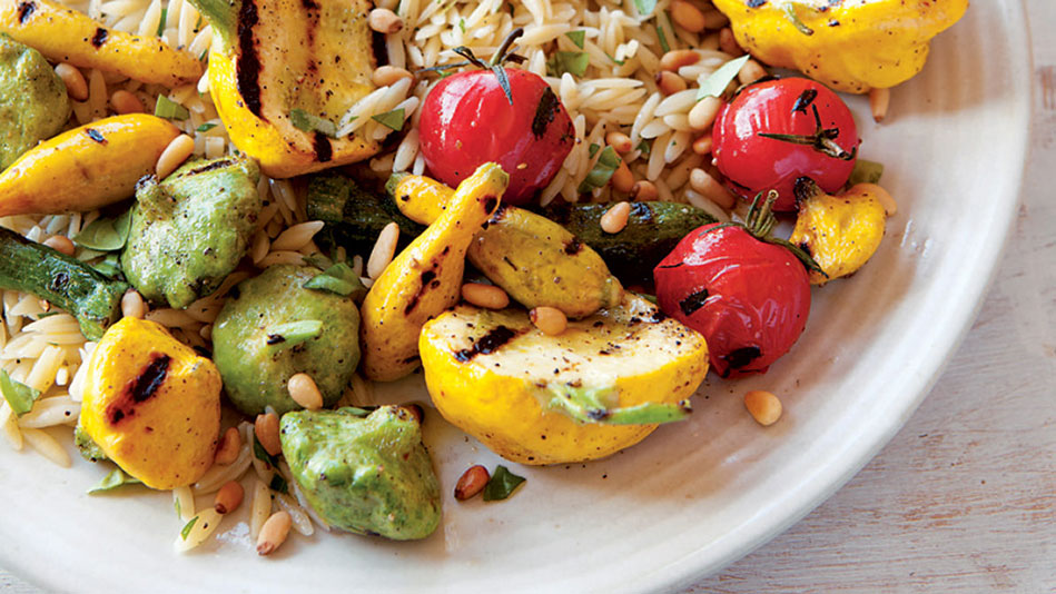 Grilled Squash & Orzo Salad With Pine Nuts & Mint Recipes — Dishmaps