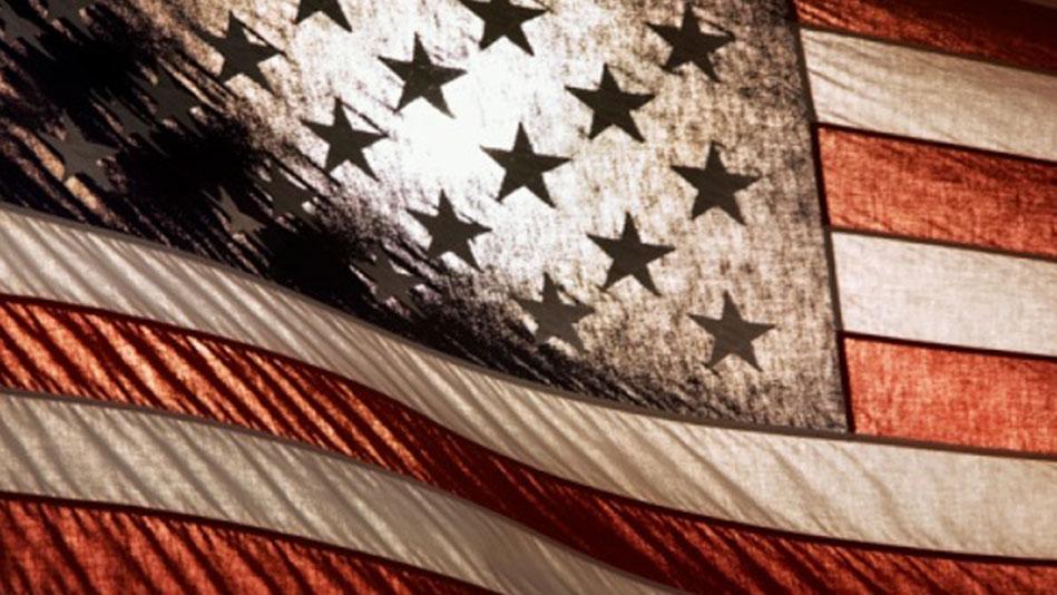 An American flag at half-mast