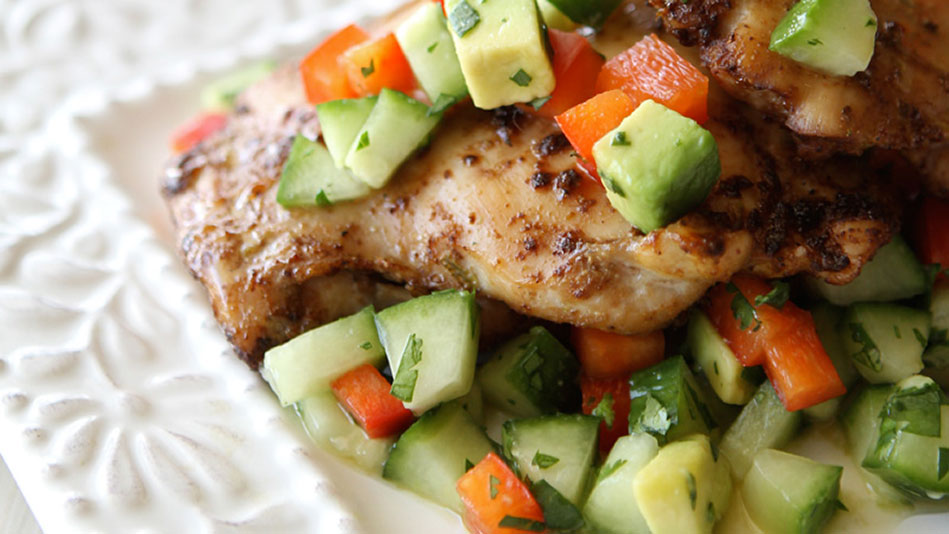 Spicy Chicken Thighs with Cucumber Avocado Salsa Recipe