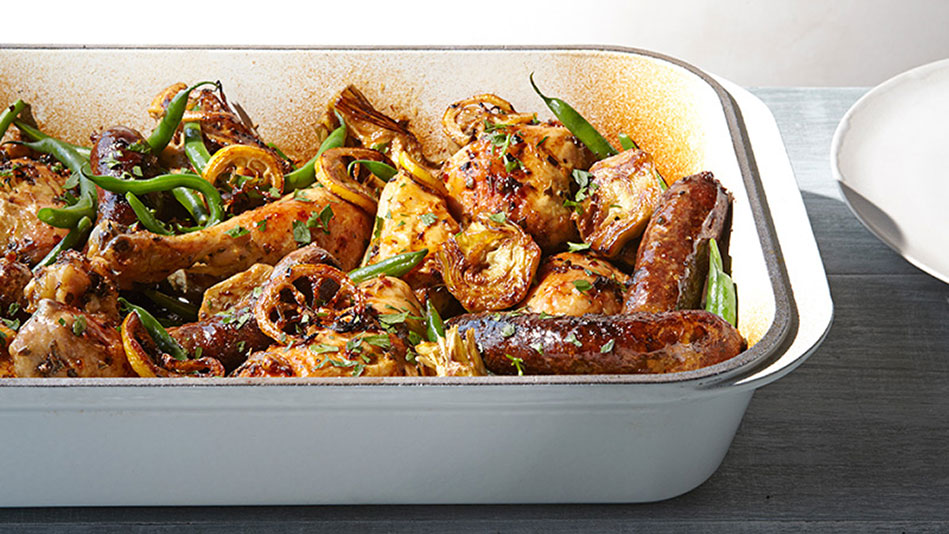 Roast Chicken With Green Beans And Artichokes Recipe