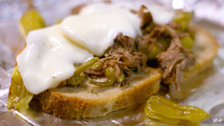 Slow Cooker Peperoncini Beef Sandwiches Recipe