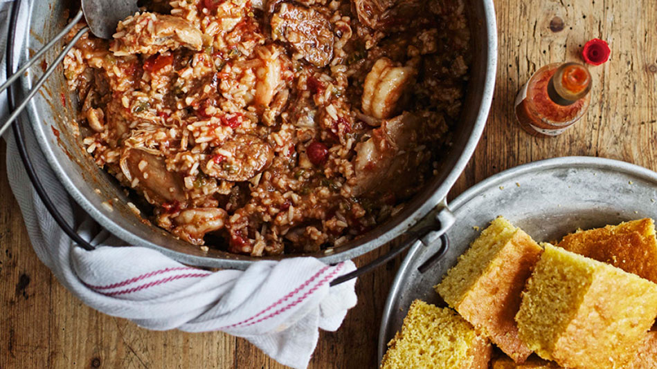 Jambalaya with Chicken, Shrimp, and Andouille Sausage Recipe