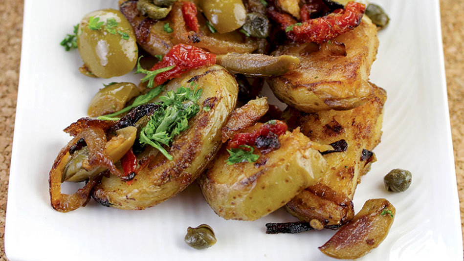 Lyonnaise Potatoes with Green Olives and Sun-Dried Tomatoes Recipe