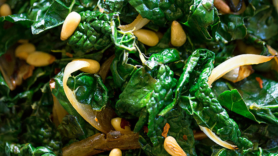 Kale with Onions and Pine Nuts Recipe - Michael Pollan Recipe