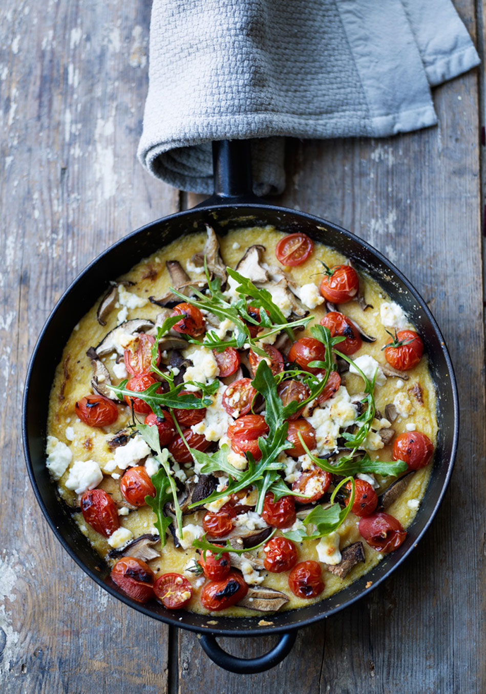 Polenta Bake with Tomato, Feta and Mushrooms