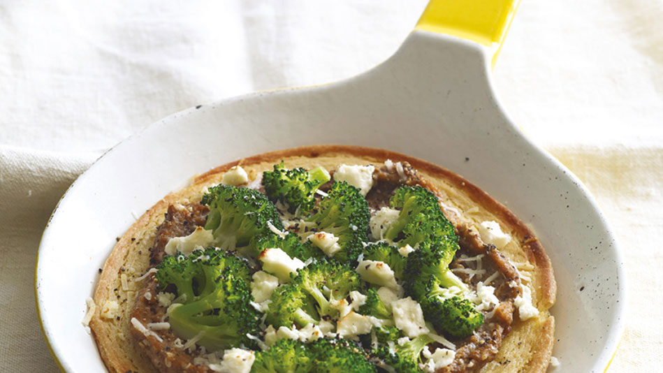 Chickpea Pancake with Broccoli and Eggplant Puree Recipe