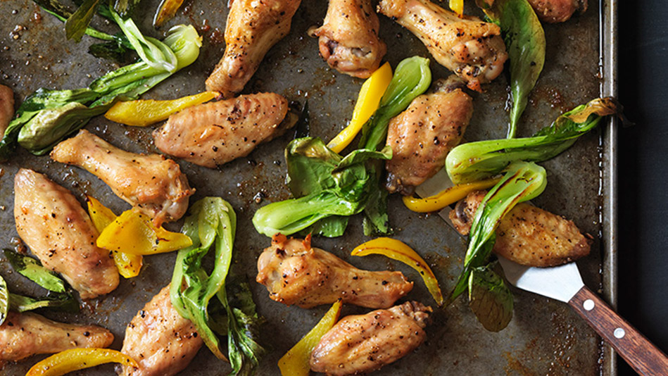 Salt-and-Pepper Chicken Wings with Bok Choy and Peppers Recipe