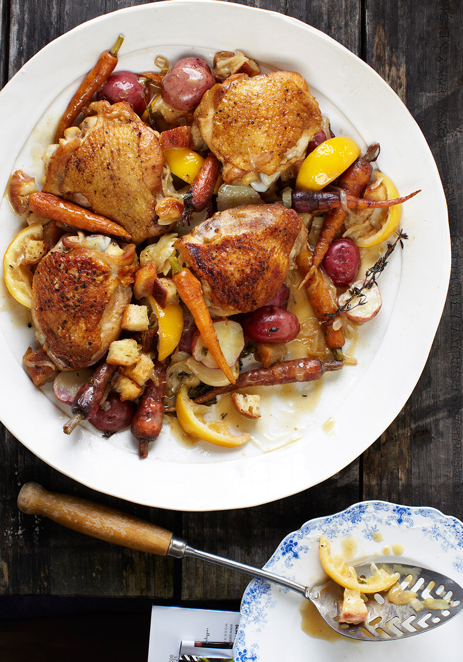 Lemon-Scented Chicken Thighs with Crispy Croutons and Carrots