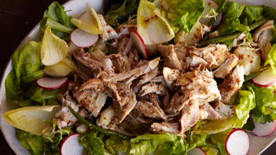 Roast Chicken Salad and Haricots Verts with Mustard Vinaigrette