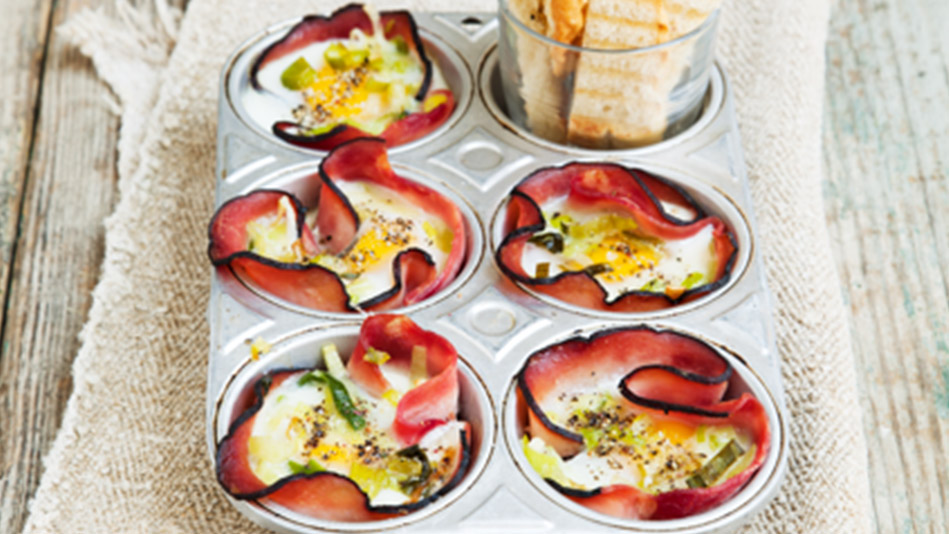 Baked Eggs in Ham Baskets