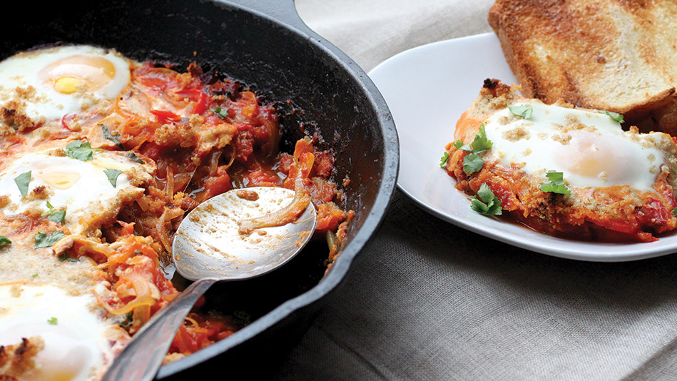 Shakshouka with Chorizo and Bread Crumbs