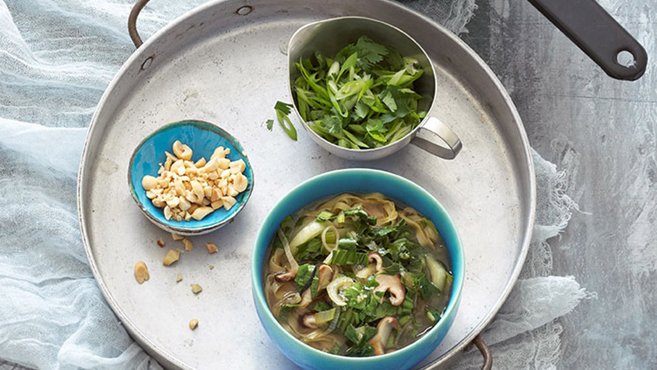 Spicy-Noodle Hot Pot with Bok Choy, Shiitake Mushrooms, Ginger, Lime and Peanuts