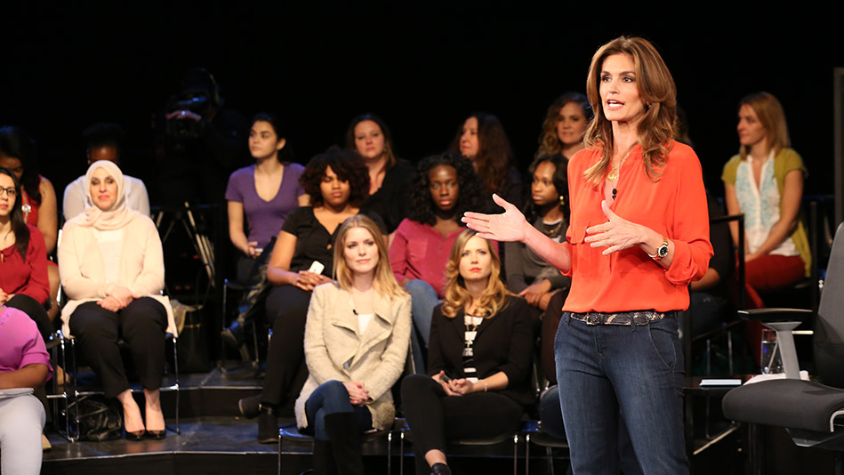 Cindy Crawford talking to studio audience
