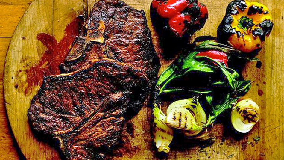 Maple and Chili–Broiled T-Bone Steaks
