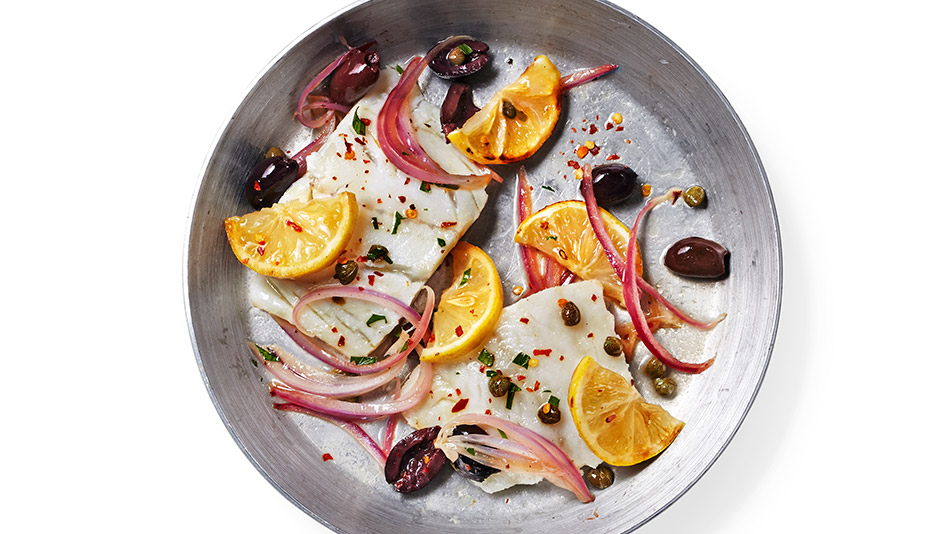 Cod with Lemon, Olives and Capers Recipe