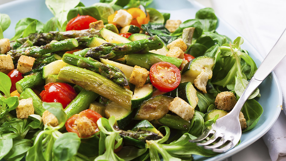 Pea Shoot, Grilled Asparagus and Heirloom Tomato Salad with Tomato Tarragon Vinaigrette