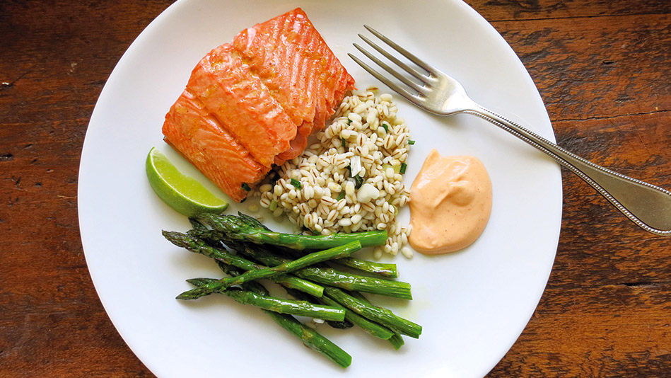 Roasted Salmon and Asparagus with Spicy Mayo and Chives