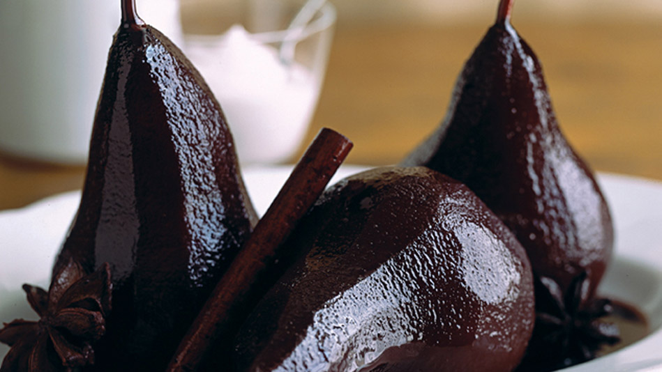Merlot-Poached Pears with Vanilla-Cinnamon Yogurt