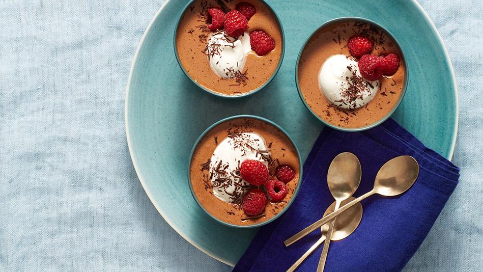 Chocolate Sabayon with Raspberries