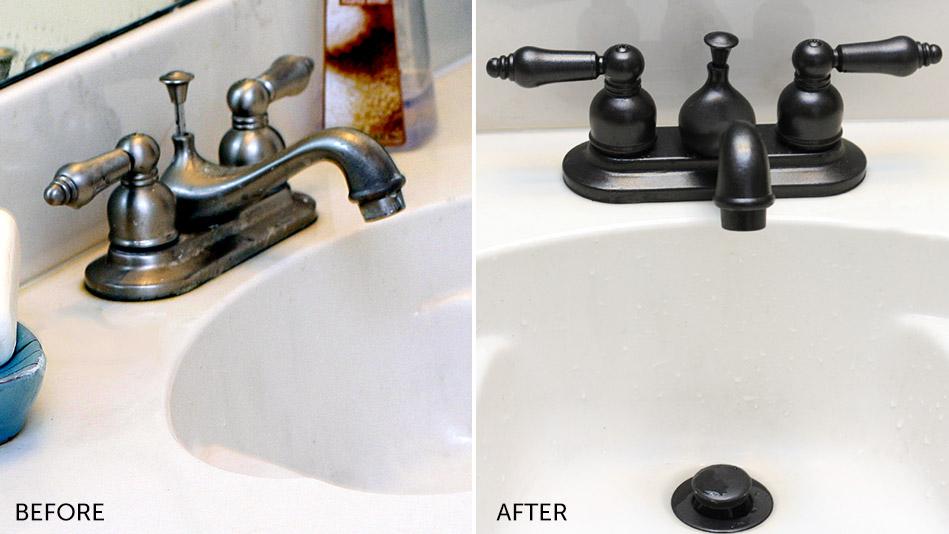 Bathroom Makeovers Bathroom Decorating Ideas - Spray paint bathroom sink