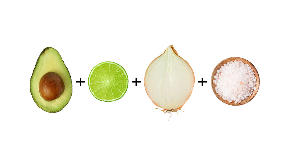 Avocado + lime + onion + salt