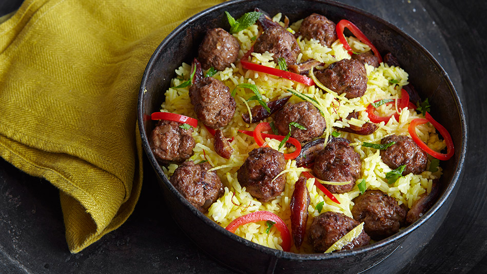 Saffron Rice Pilaf with Lamb Meatballs, Red Peppers and Dates