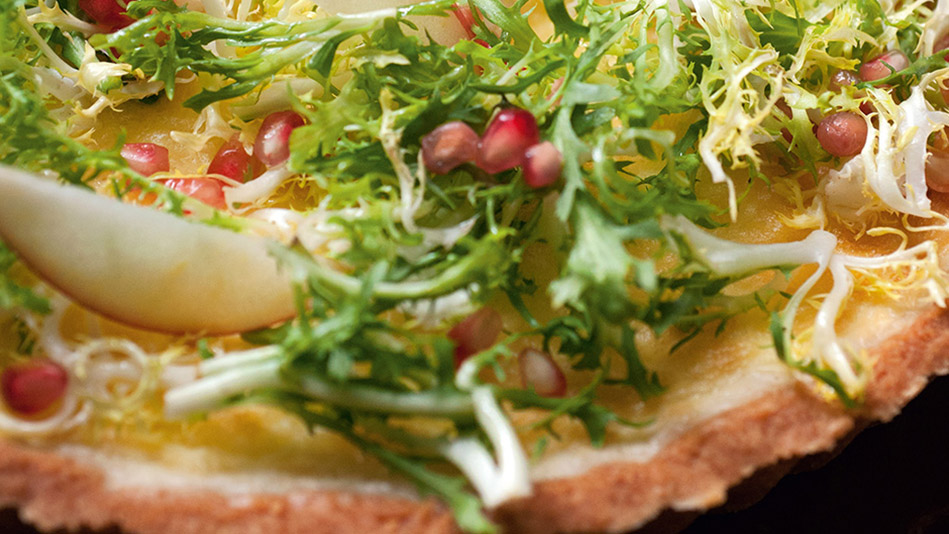 Goat Cheese Tart with Pomegranate & Frisee