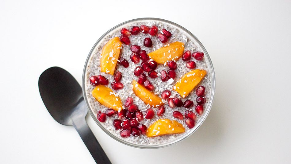 Chia Seed Pudding with Persimmons and Pomegranate Recipe