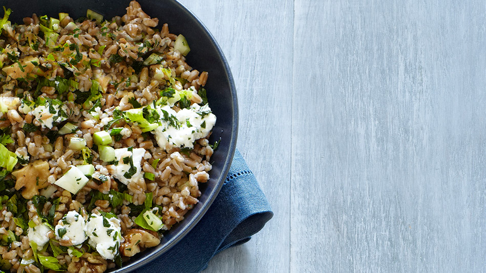 Farro with Goat Cheese, Walnuts, and Parsley
