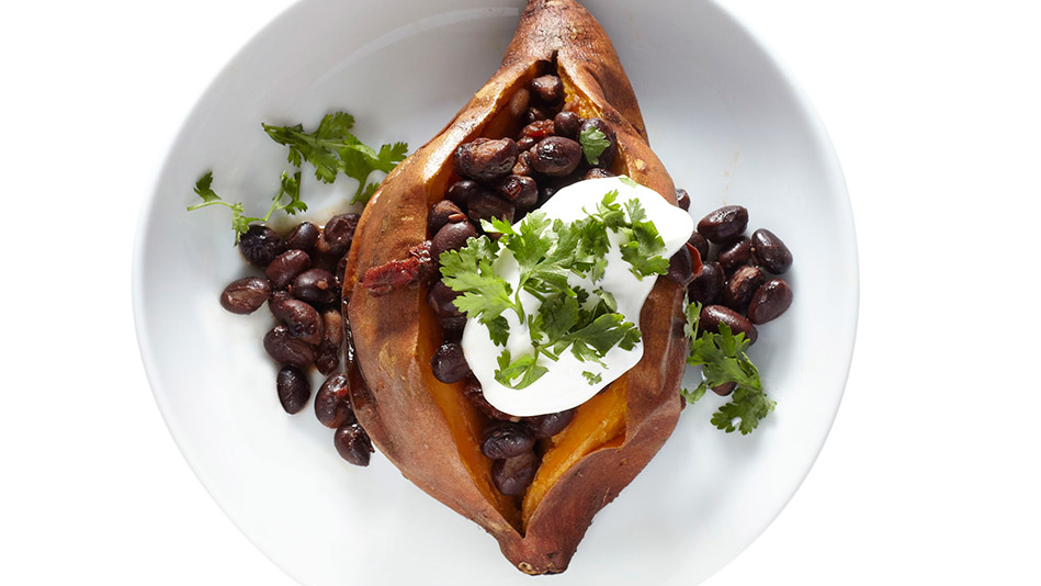 Chipotle Bean-Stuffed Roasted Sweet Potatoes Recipe