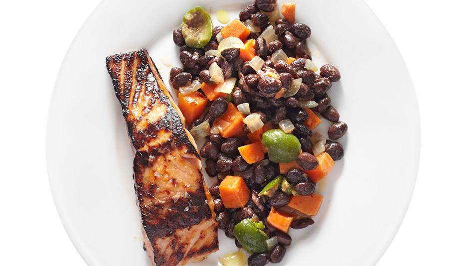 Honey-Glazed Salmon with Black Bean Ragout Recipe