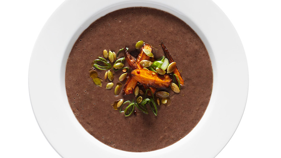 Black Bean Soup with Chili-Lime Sweet Potatoes Recipe