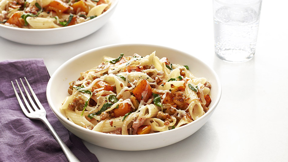 pasta with butternut squash and sausage