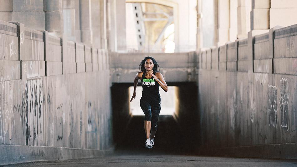 Angela Davis running