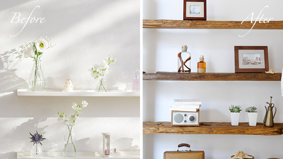Distress Wood Shelves To Look More Expensive