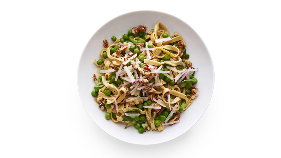 Fettuccine with Peas, Radishes and Basil Recipe