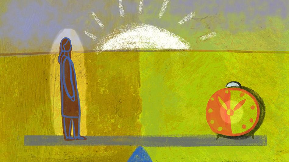 woman and clock illustration