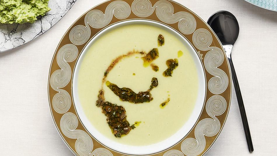 Leek and Sweet Onion Soup With Tarragon Salsa Verde Recipe