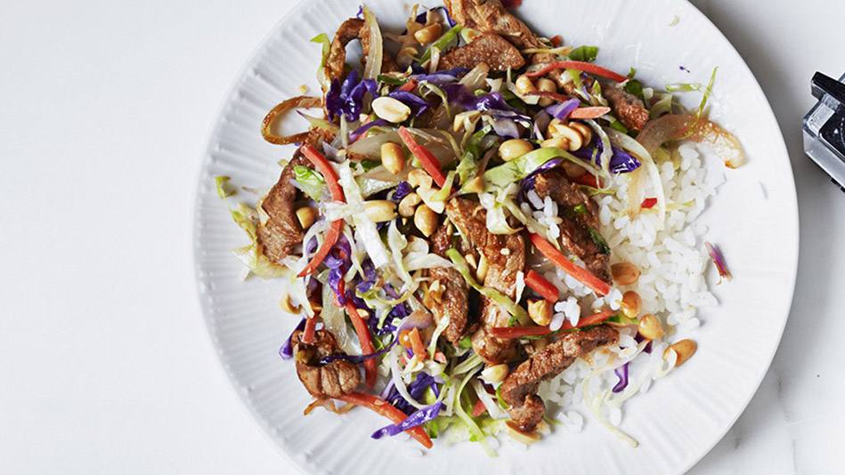 Stir-Fried Pork With Cabbage, Peanuts and Lime Recipe