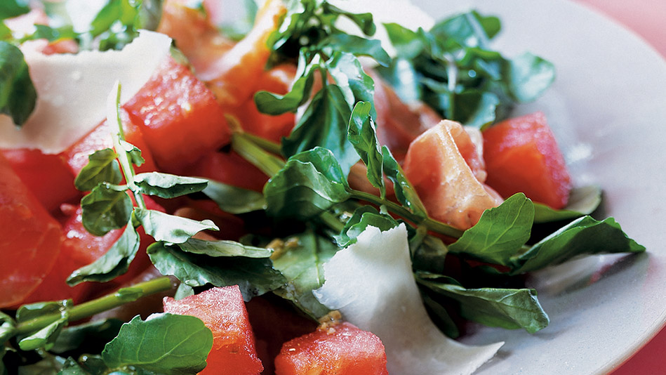 Watermelon and Watercress Salad with Prosciutto, Parmesan and Toasted Fennel Seed Vinaigrette