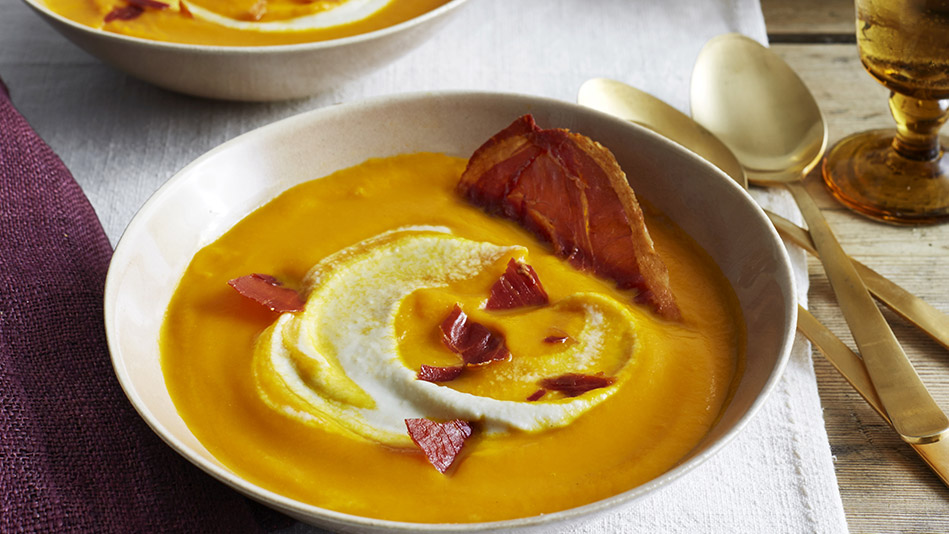 Carrot Soup with Celery Root Cream and Prosciutto Chips Recipe