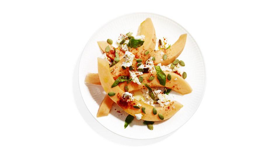 Cantaloupe, Feta, Basil and Pepita Salad Recipe