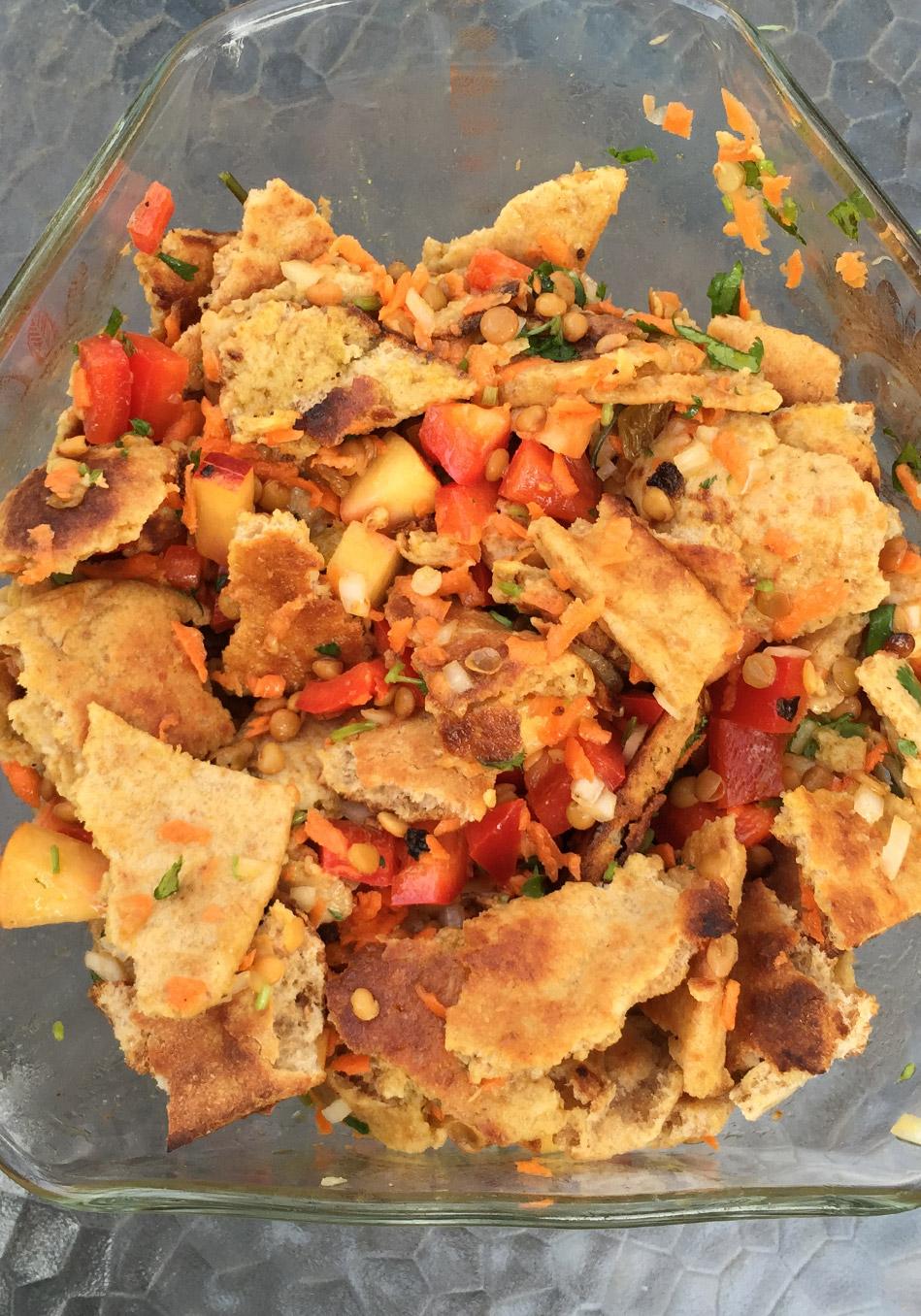 Indian Naan Lentil Salad